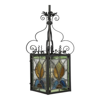 Arts and Crafts Stained Glass Lantern For Sale