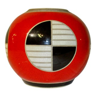 Red, Black and White Modern Jar For Sale