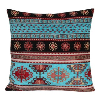 Turkish Kilim Patterned Decorative Throw Pillow For Sale