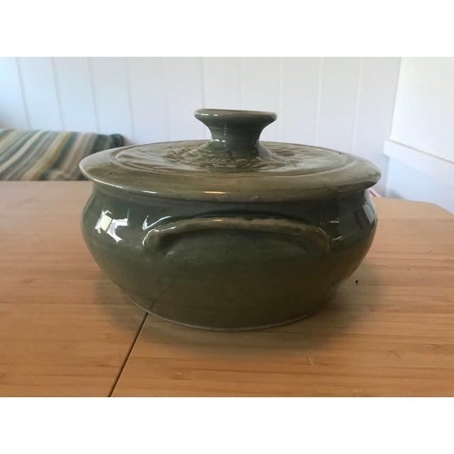 Boho Chic Studio Pottery Lidded Casserole Dish For Sale - Image 3 of 10