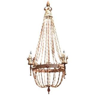 Antique Italian Wooden Beaded Chandelier