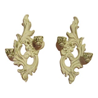 1950s Vintage Molded Plaster Wall Candelabra Sconces - a Pair For Sale