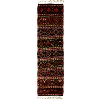 Antique Geometric Red Wool Kilim Rug - 3′ × 10′8″ For Sale