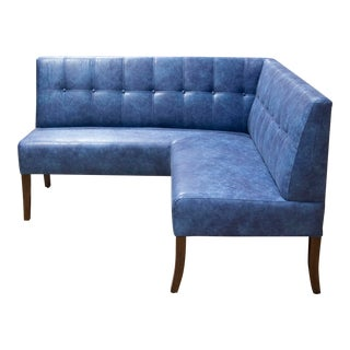 Modern Custom Made Faux Leather Corner Banquette For Sale