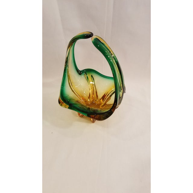 Glass Vintage Mid Century Murano Mouth Blown Glass Basket, Made in Italy, Condition, Green and Gold For Sale - Image 7 of 11