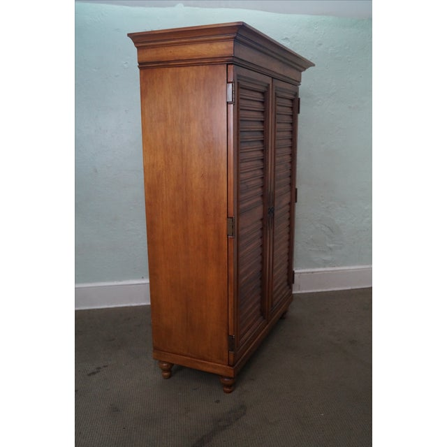 Traditional Tommy Bahama Lexington Maple Louvered Door Armoire For Sale - Image 3 of 10