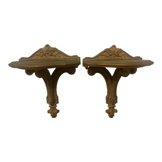 Syroco Gold-Toned Wall Shelves - a Pair For Sale