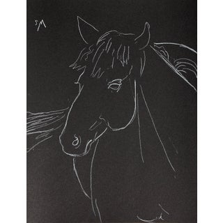 "Sarah Myers ""The Little Mare"" Minimalist Inspired White Charcoal Drawing For Sale"