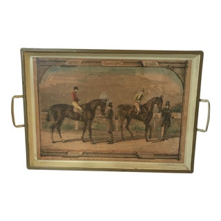 Derby Epsom 1860 Oaks Horse Print on Metal Tray With Handles For Sale
