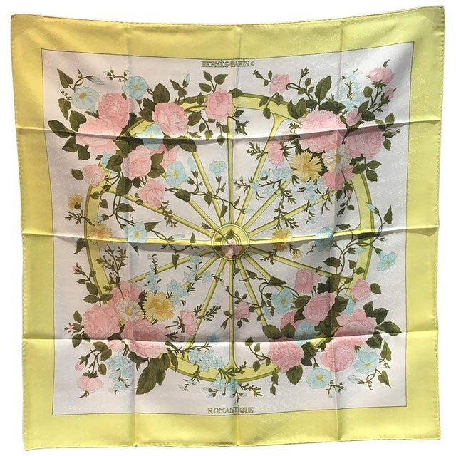Silk Hermes Vintage Romantique Silk Scarf in Yellow C1970s For Sale - Image 7 of 7
