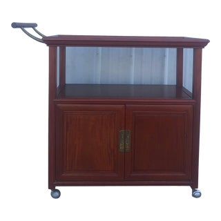 Mid Century Wheeled Bar Cart With Storage Cabinet For Sale
