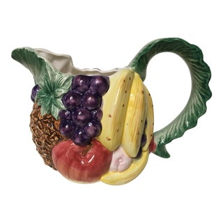 1980's Hand Painted Fitz and Floyd Fruit Motif Ceramic Pitcher For Sale