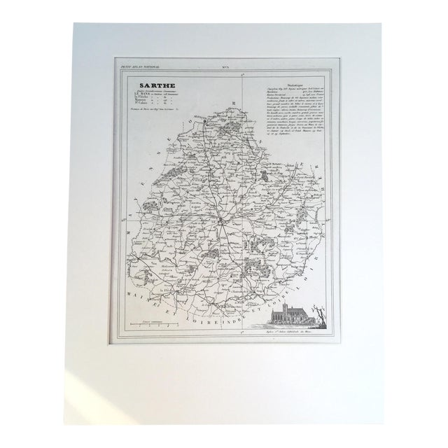 """19th C. Map of Sarthe, France, """"Petit Atlas..."""" 1833 For Sale"""
