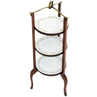 3-Tier Serving Stand W Brass Handle For Sale