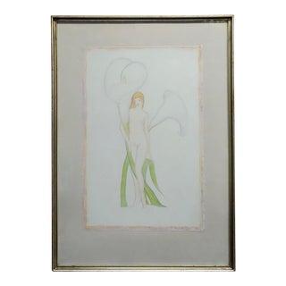 "Duane Van Vechten (Taos 1899 -1977) ""Nude Nymph & White Lillies"" Painting For Sale"