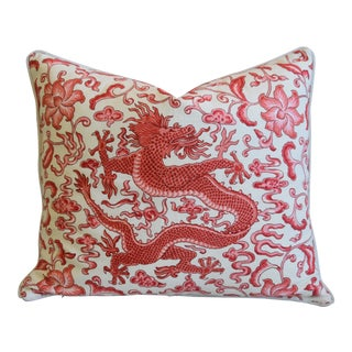 "Italian Chinoiserie Scalamandre Dragon Feather/Down Pillow 26"" X 22"" For Sale"