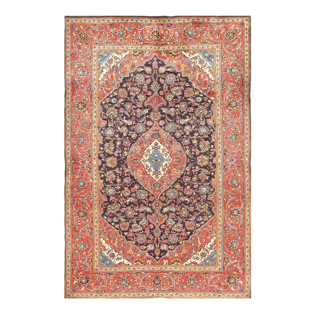 1950s Vintage Kashan Hand-Knotted Rug-6′9'x10′2″ For Sale In Washington DC - Image 6 of 6