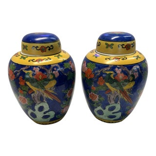 Hand Painted Ginger Jars - a Pair For Sale