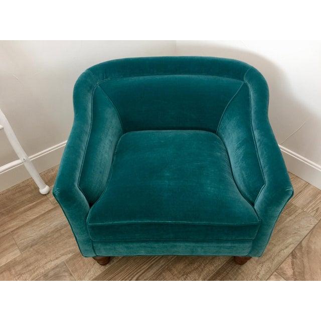 Modern Anthropologie Teal Velvet Holloway Chair For Sale In Phoenix - Image 6 of 8