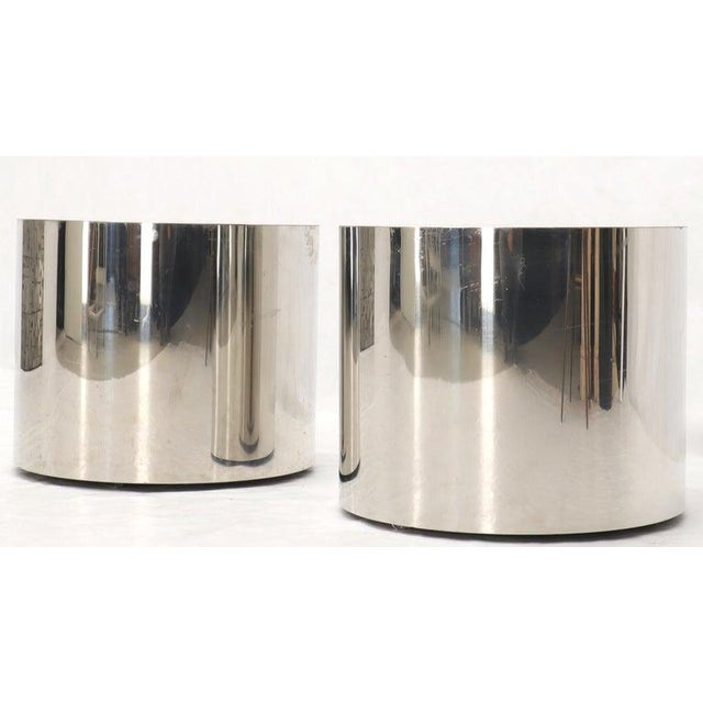 Pair of Chrome Cylinder Side End Tables or Wide Pedestals For Sale In New York - Image 6 of 10