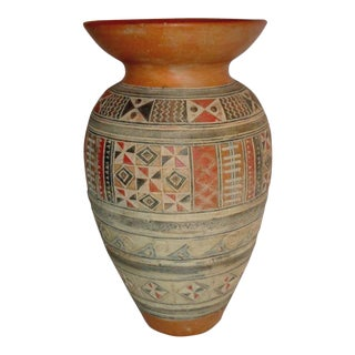 1960's Large Cusco Style Incised Polychrome Terracotta Vase For Sale