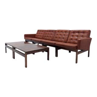 Ole Gjerlov-Knudsen & Torben Lind 'Moduline' Leather Seats & Tables, 6 Pieces For Sale
