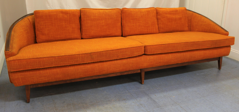 Beau Mid Century Danish Modern Milo Baughman Style Orange Curved Back Sofa What  A Find
