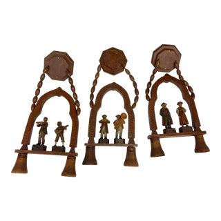 Carved Wood Figural Hanging Lights Set of 3 For Sale