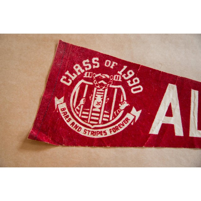 :: Vintage 1960s gag gift class of 1990 Alcatraz brass and stripes forever felt flag banner. This felt flag pennant is in...