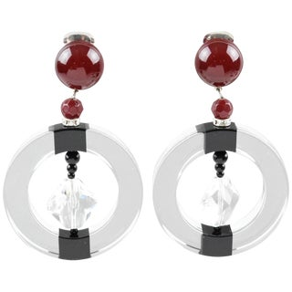 Angela Caputi Large Hoop Dangling Black and Clear Resin Clip on Earrings For Sale