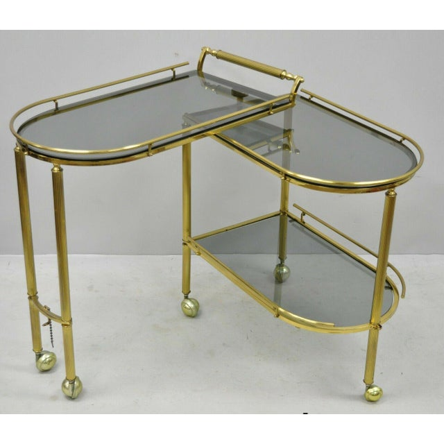 20th Century Hollywood Regency Swivel Rolling Bar Cart For Sale - Image 13 of 13