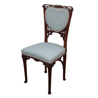 Art Nouveau Carved Walnut Side Chair