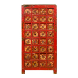 Chinese Qing Dynasty 19th Century Red Lacquered and Painted Apothecary Chest For Sale