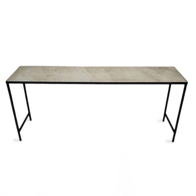 Modern vintage style antiqued honed white/ beige marble console table with black iron simple legs. Narrow and long design...