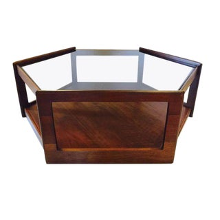 "Mid Century Modern Walnut Coffee Table 2 Tier Hexagon with Smoky Glass Top - 38"" For Sale"