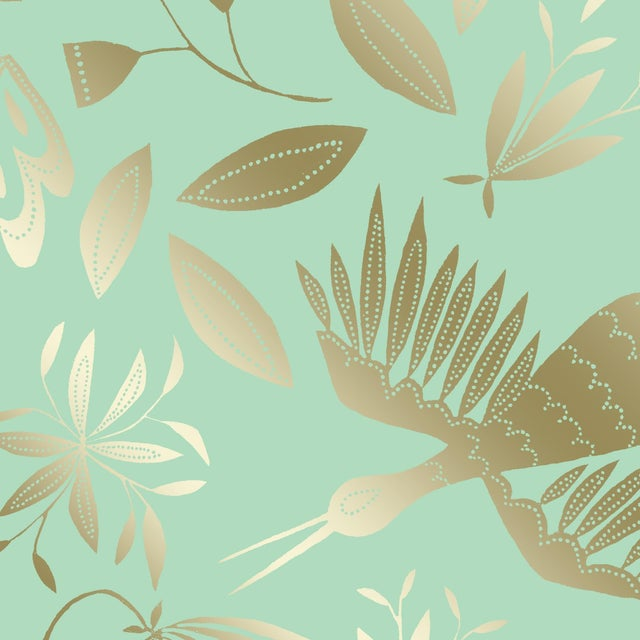 Julia Kipling Otomi Grand Wallpaper, 3 Yards, in Chiffon, Gold Flash For Sale