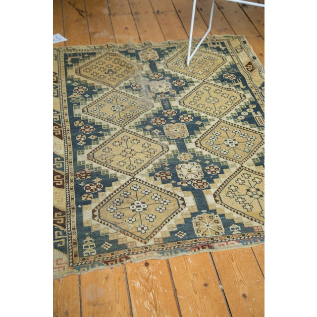 "Vintage Fragmented Caucasian Square Rug - 3'9"" x 4'8"" - Image 7 of 7"
