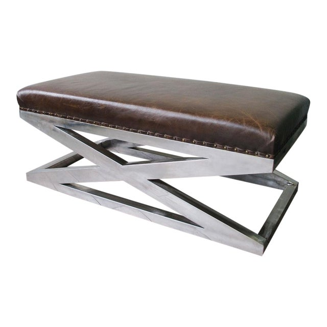 Magnificent Custom Leather And Chrome X Form Ottoman Pabps2019 Chair Design Images Pabps2019Com