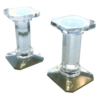 Pair of Solid Lucite Bases or Pedestals Dining Table Desk by Spectrum For Sale