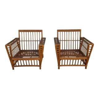 Vintage Rattan Arm Chairs- A Pair For Sale
