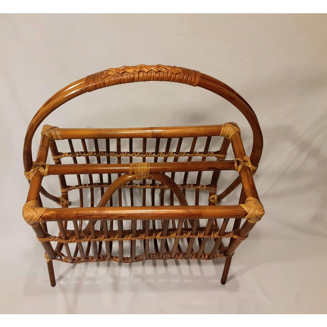 Vintage Mid Century Modern Franco Albini Style Rattan & Bamboo Magazine Rack For Sale In Los Angeles - Image 6 of 8