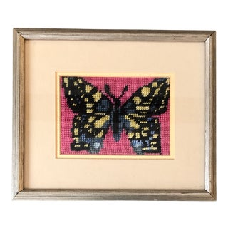 Mid Century Original Butterfly Needlepoint Framed Picture For Sale
