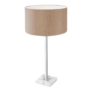Polished Chrome Lamp With Shade and Stone Base For Sale