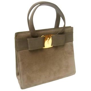 Salvatore Ferragamo Italy Mocha Brown Suede Handbag C 1990 For Sale