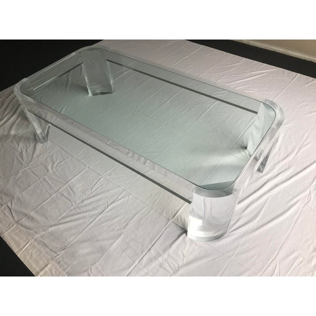 1970s Vintage Steve Chase Style Lucite & Glass Coffee Table For Sale - Image 9 of 13