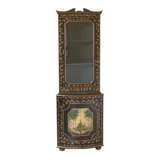 Traditional Ardley Hall Paint Decorated Corner China Cabinet For Sale