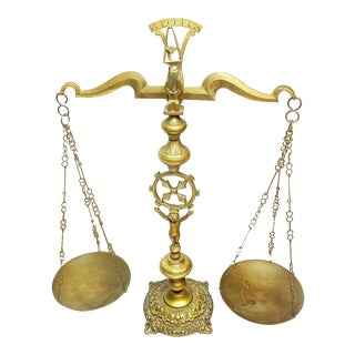 Antique Italian Hand Crafted Solid Brass Apothecary Scale For Sale