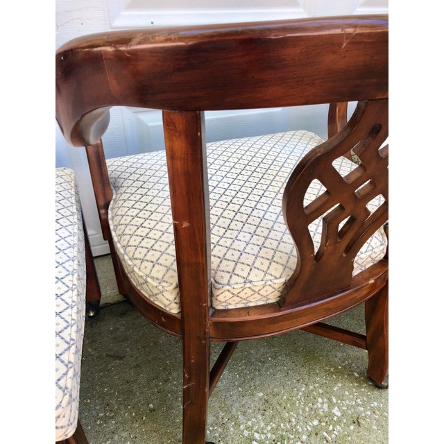 Drexel Heritage Chippendale Horseshoe Dining Chairs on Casters- Set of 4 For Sale - Image 9 of 13