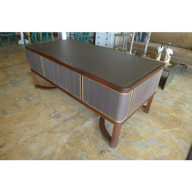 Restored Expansive Modern French Art Deco Executive Desk - Image 3 of 13