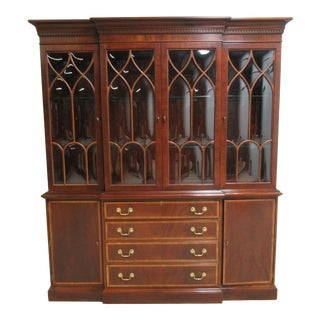 18th Century Ethan Allen Mahogany Bubble Glass China Cabinet For Sale
